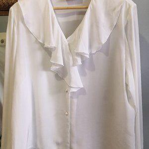 Vintage white silk ruffle frills blouse